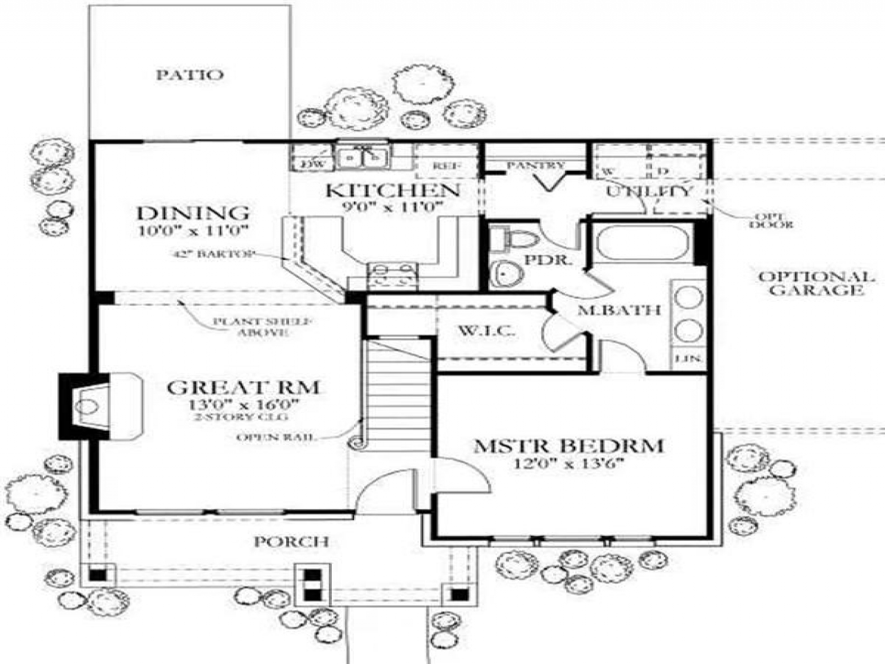 Small farmhouse homes small country home floor plans for Country cabin floor plans