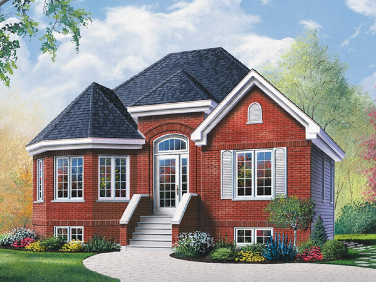 Brick ranch house with bay window ranch house plans with for House plans with bay windows