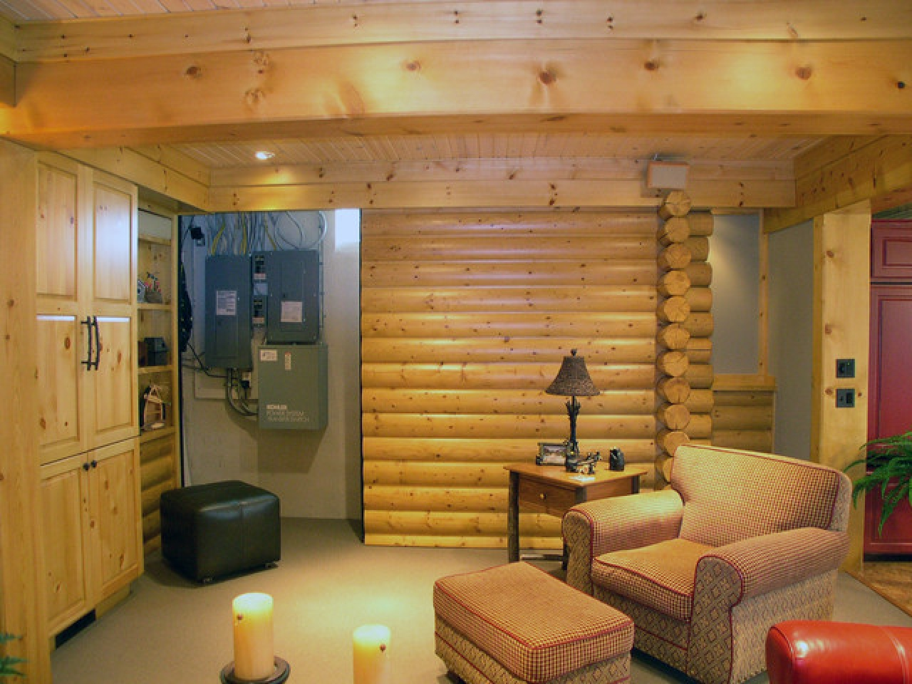 Golden eagle log homes basements log cabin basement for Log cabin basement ideas