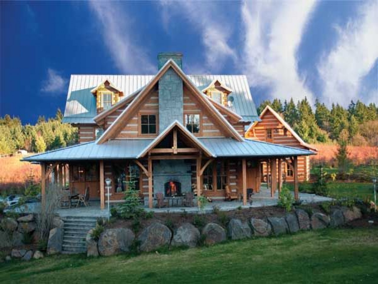 Log Cabin Homes Inside Log Cabin Home With Wrap Around