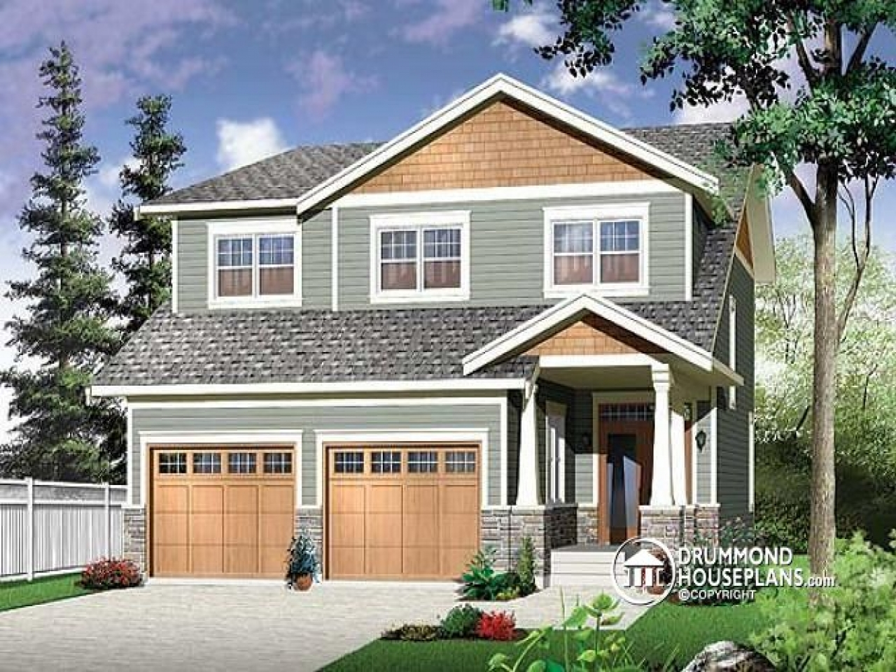 Narrow Two Story Craftsman House Plans with Garage Two ...