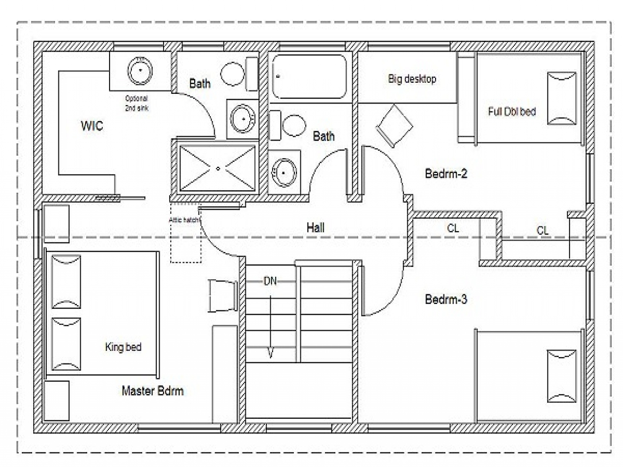 Simple house floor plan simple affordable house plans for Simple floor plan free