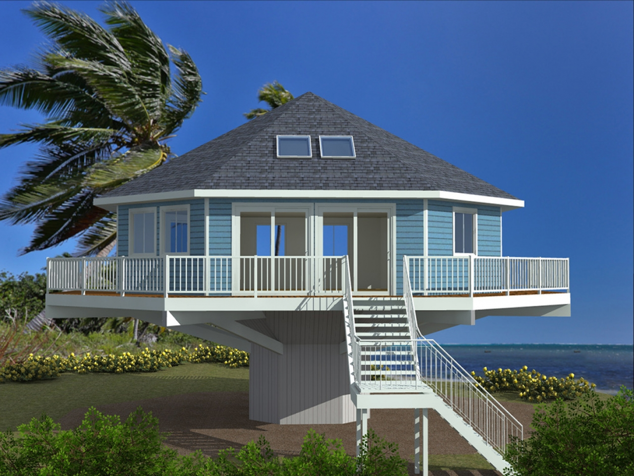 Spanish hacienda house plans house plans for homes on for Modular beach homes on pilings