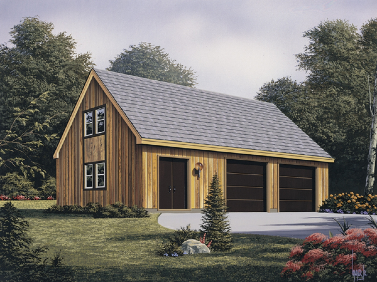2 Car Garage Plans Garage With Workshop Plans Rustic