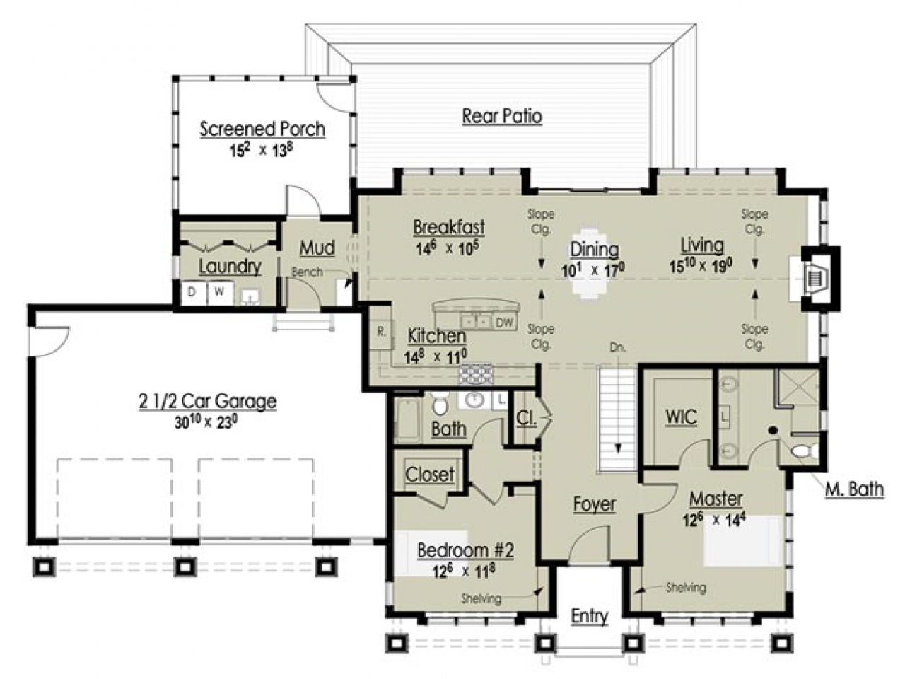Award winning open floor plans award winning cottage floor for Award winning ranch house plans