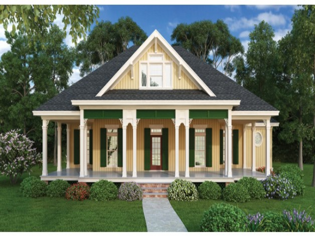 Country cottage house plans with porches cottage house for Country bungalow house plans