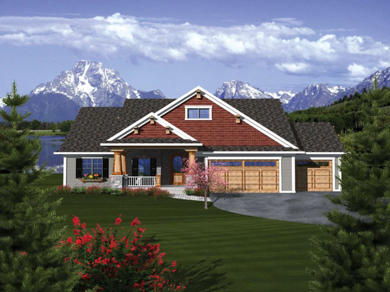 Craftsman ranch house plans with 3 car garage craftsman for Rambler home designs