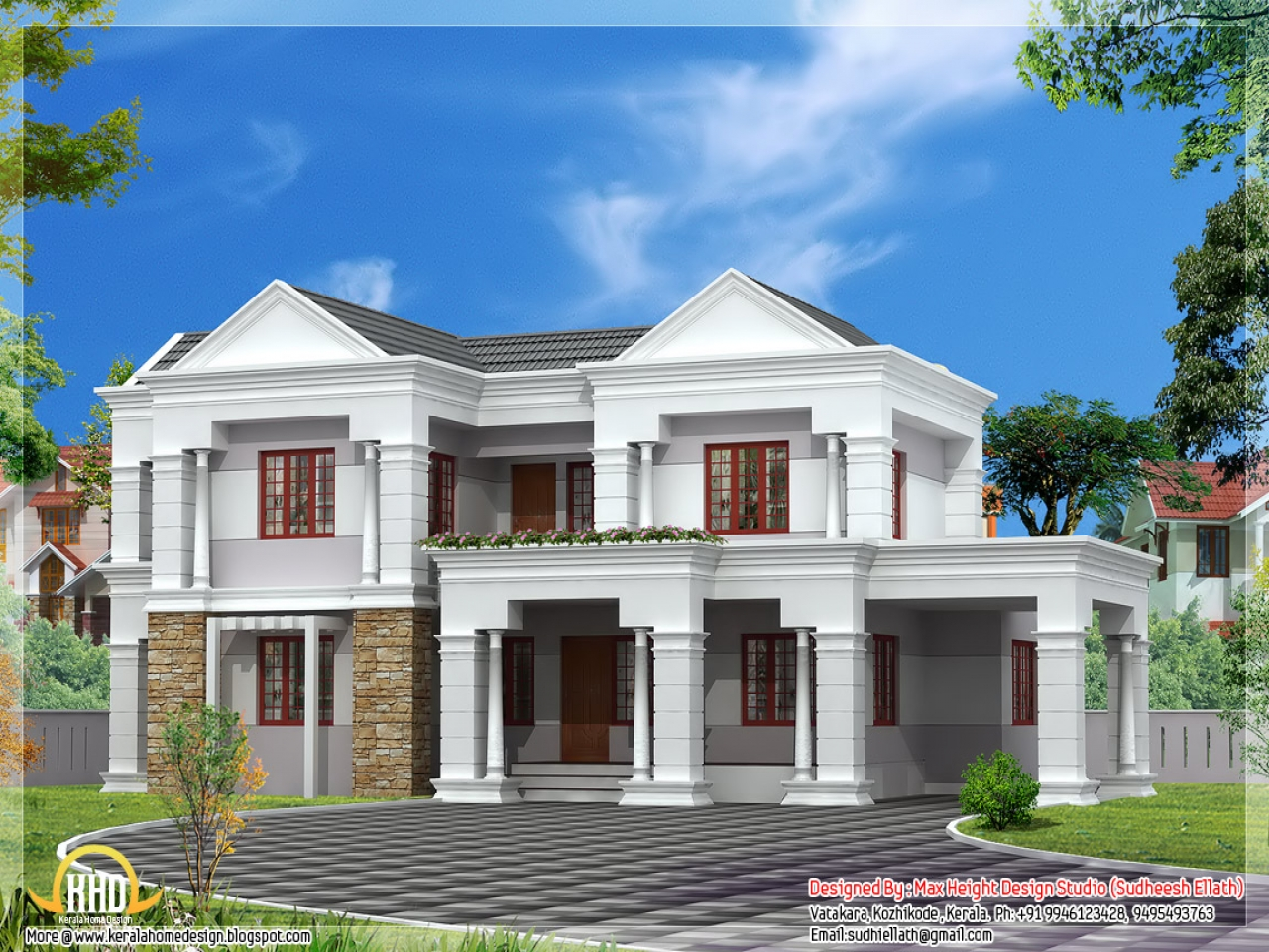 House front elevation indian house elevation design home for Normal beautiful house