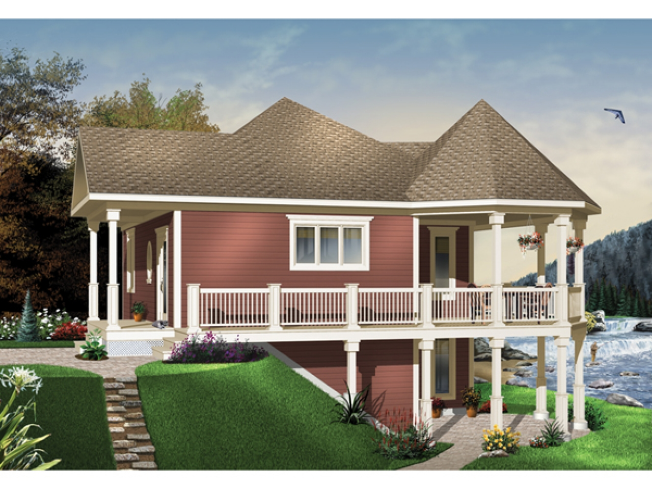 Waterfront house plans with walkout basement small house for Waterfront home plans
