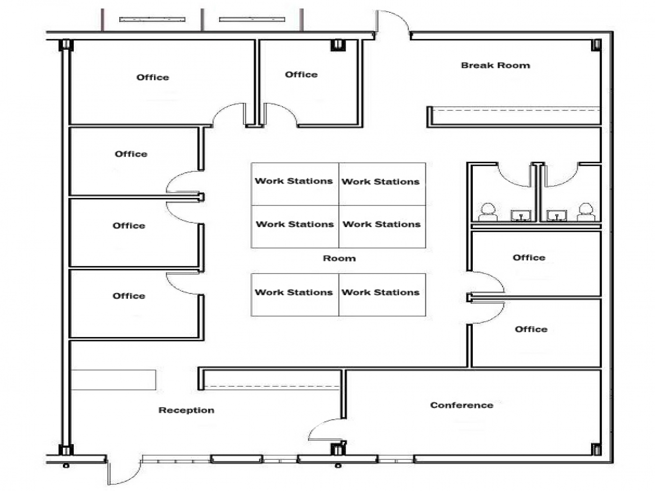 Floor plan 1500 square foot house office floor plans 1500 for 1500 square foot ranch house plans
