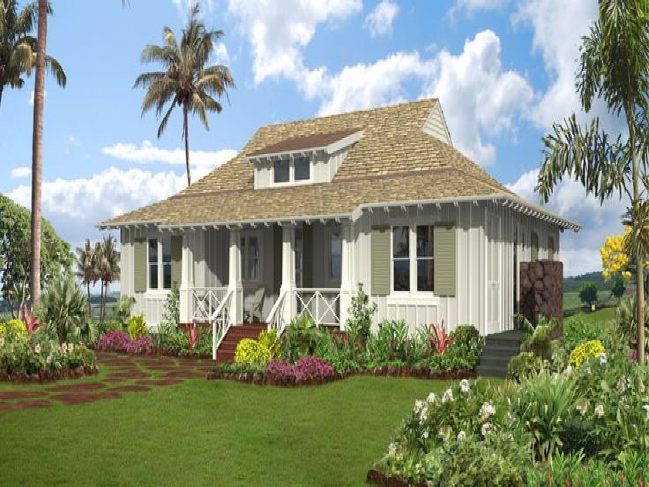Hawaiian plantation style home plan hawaiian plantation for Hawaiian style architecture