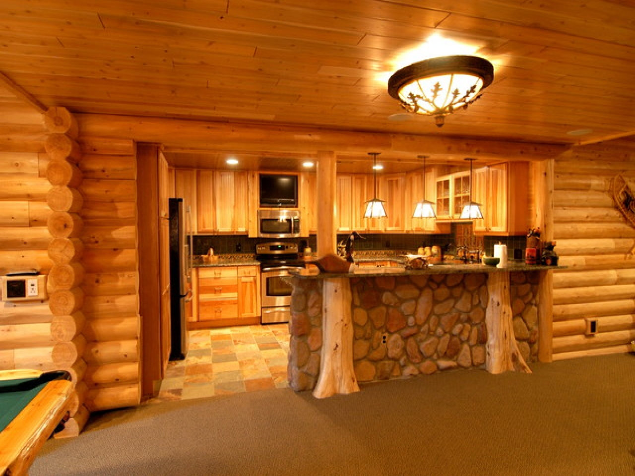 Log cabin interior design basement luxury log cabin for Log homes interior designs 2