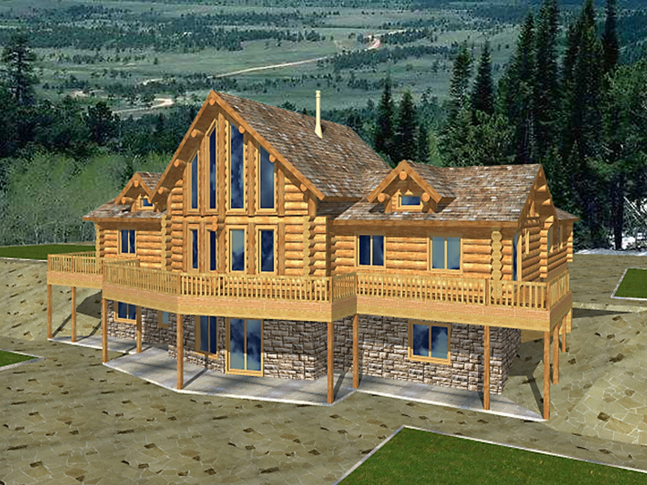 Log home plans with garages log home plans with basement for Log home floor plans with garage and basement
