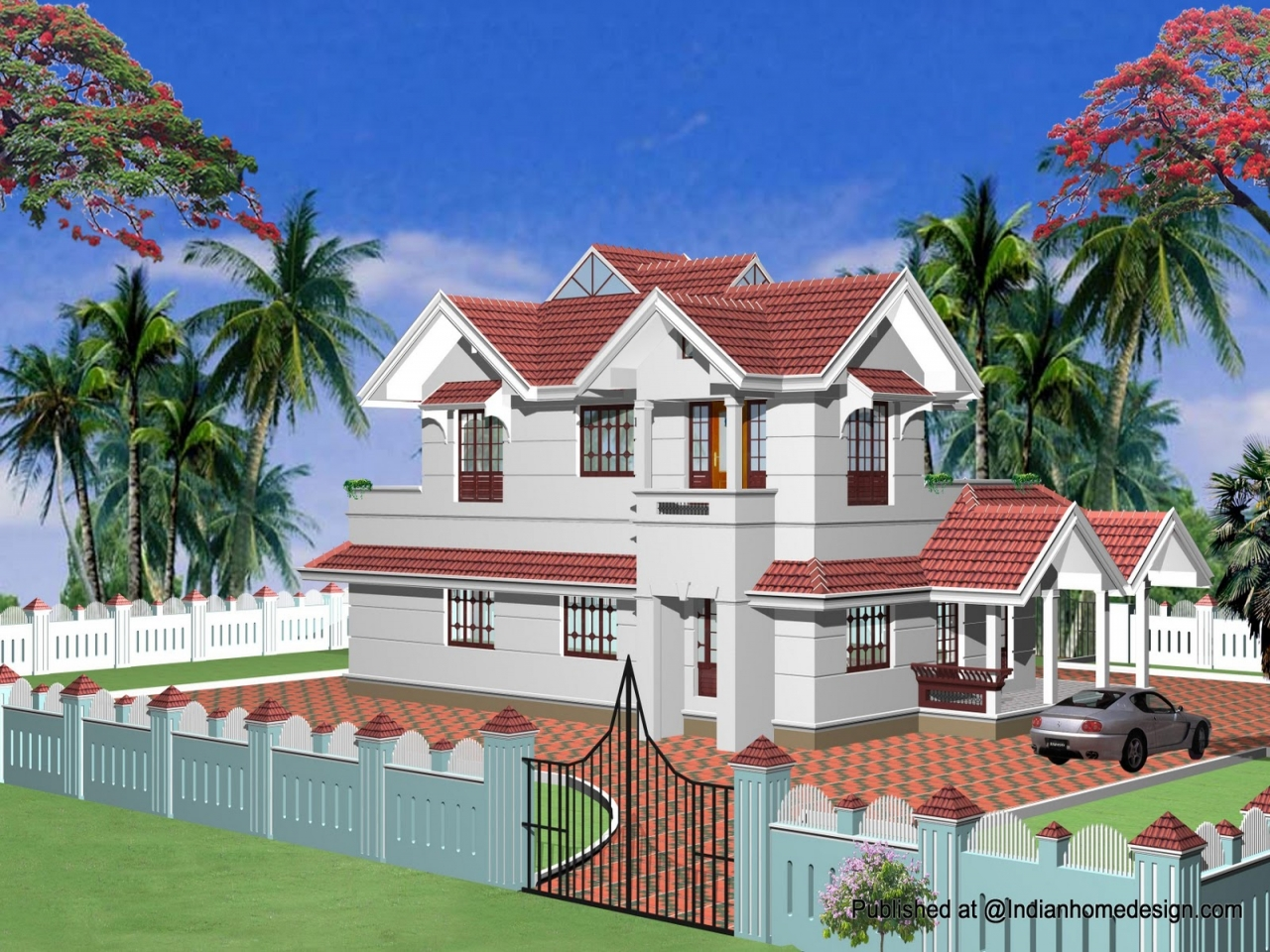 Single story home exterior design indian exterior house for Exterior home design one story