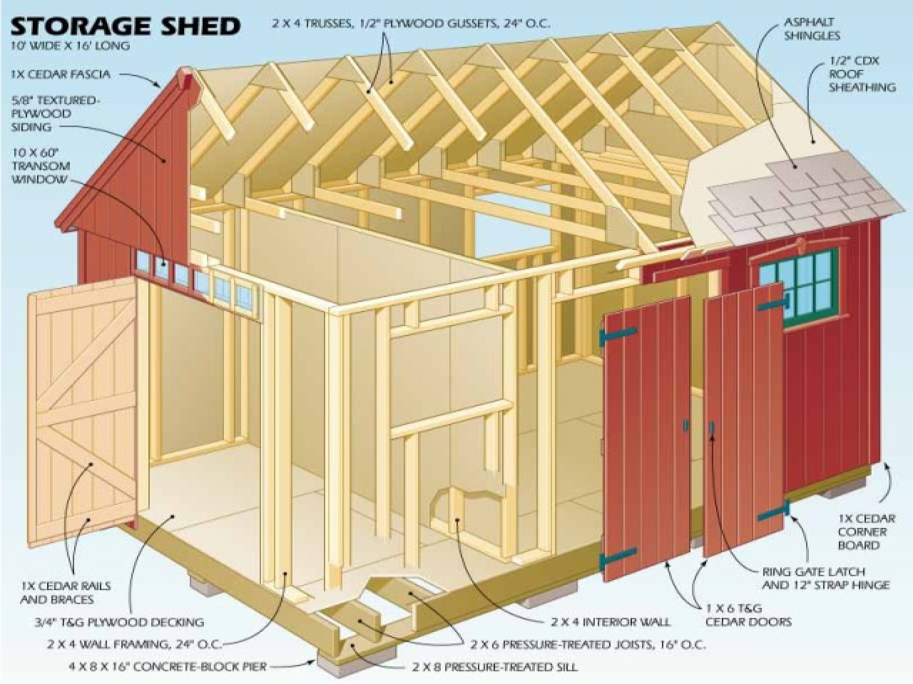 12x16 storage shed plans storage shed plans wood home for Gable shed plans
