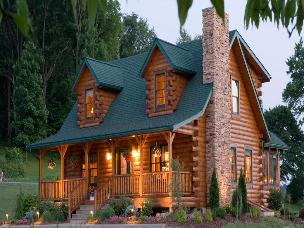 Log cabin floor plans for homes log cabin floor plans with for Log homes with wrap around porch