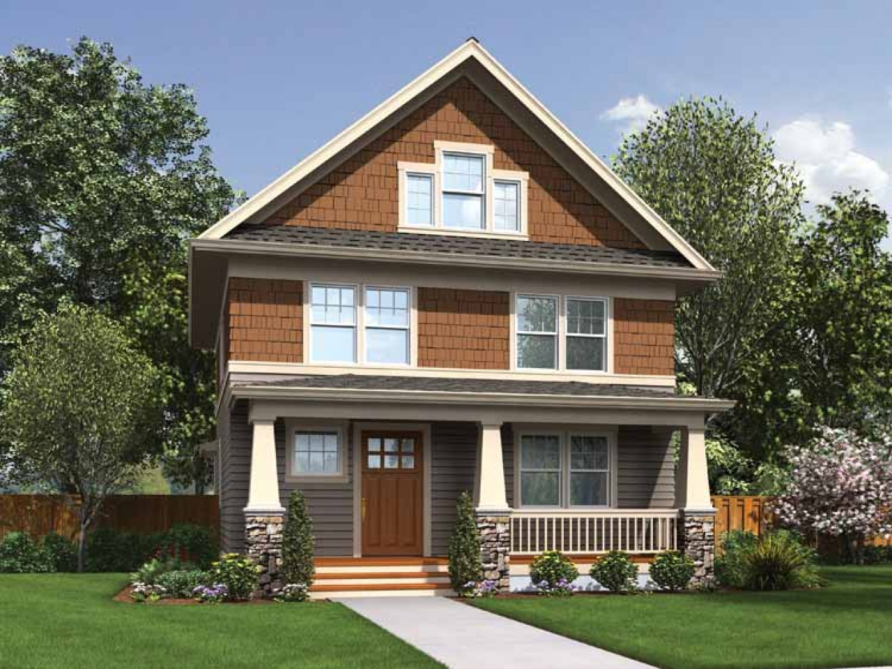Narrow lot craftsman house plans photo gallery craftsman for Craftsman house gallery