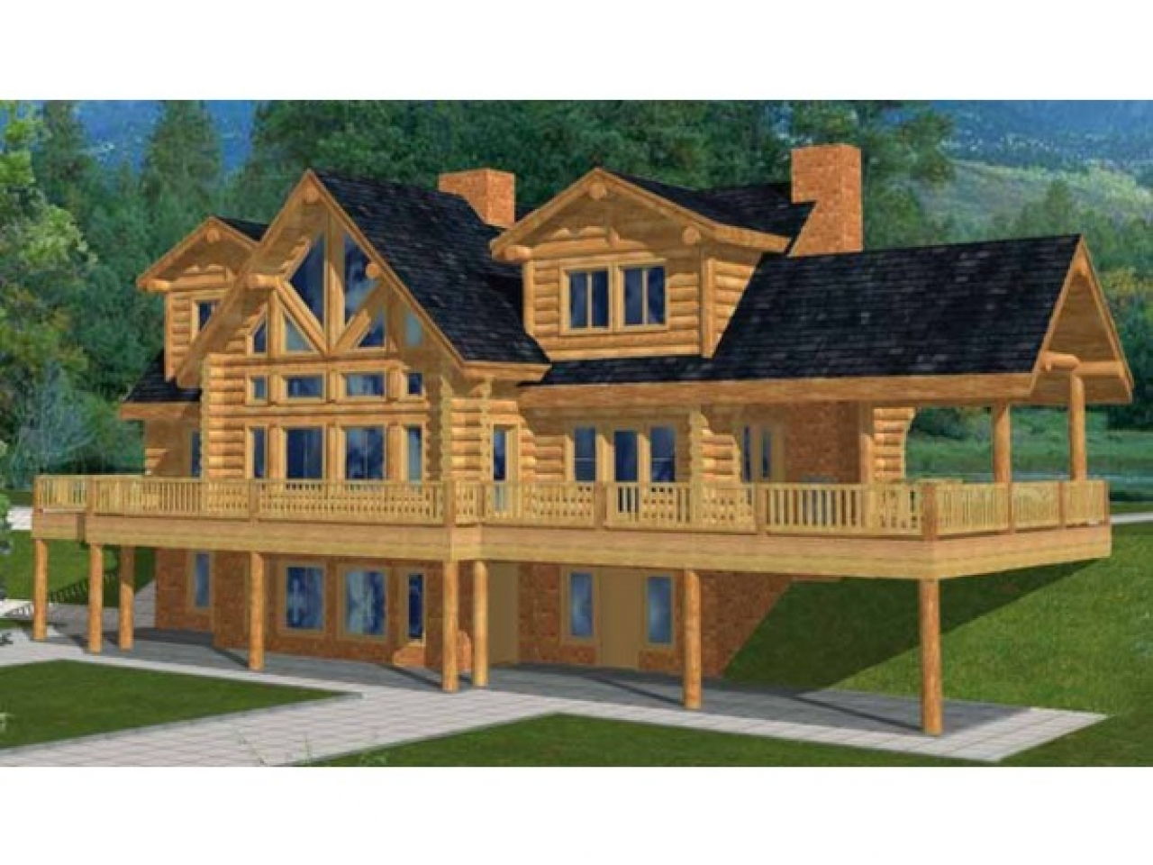 Awesome log cabins two story log cabin house plans 5 for 5 bedroom log homes