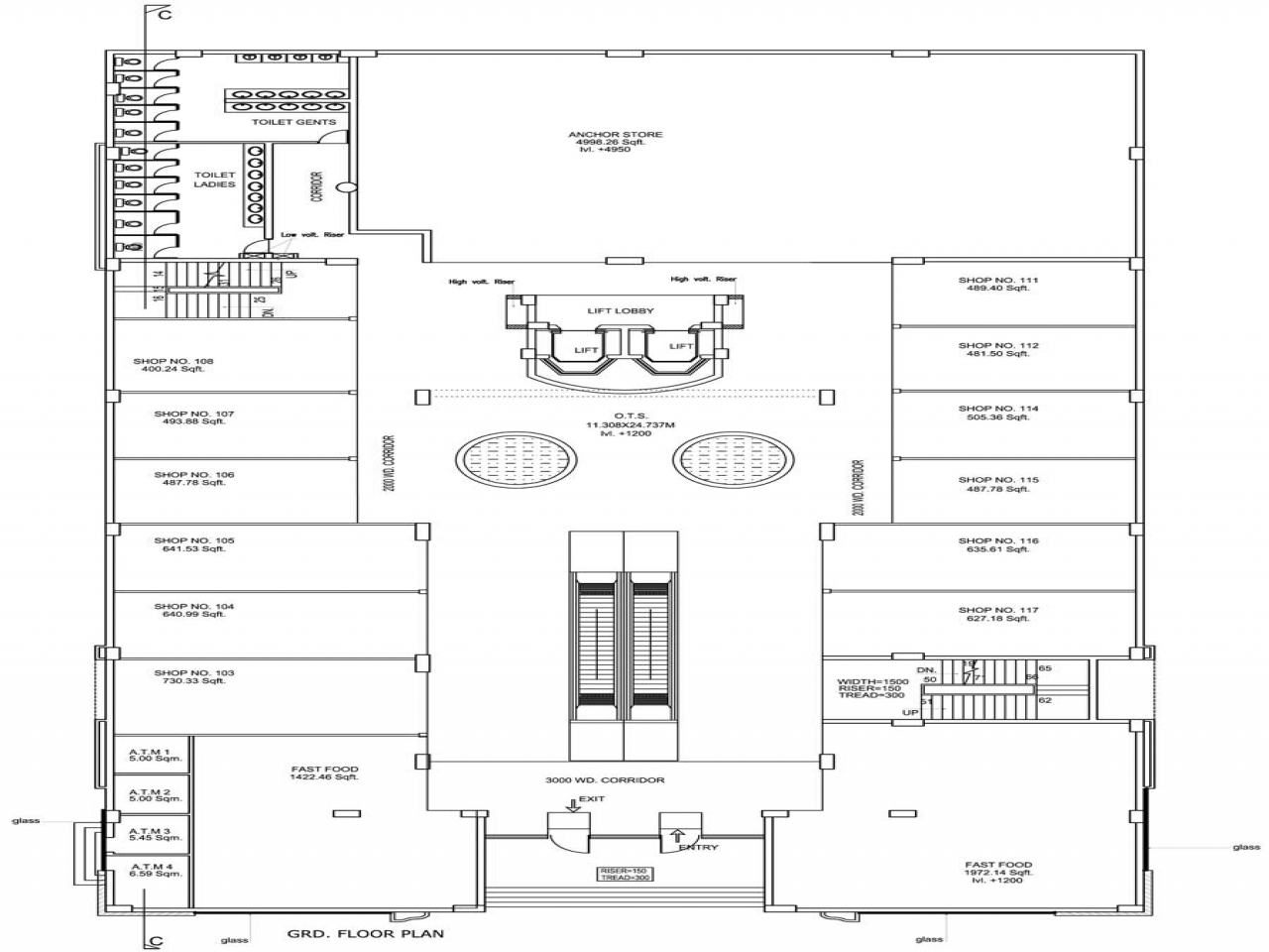 Mall floor plan small retail strip mall 12000 sq ft house for 12000 sq ft house plans