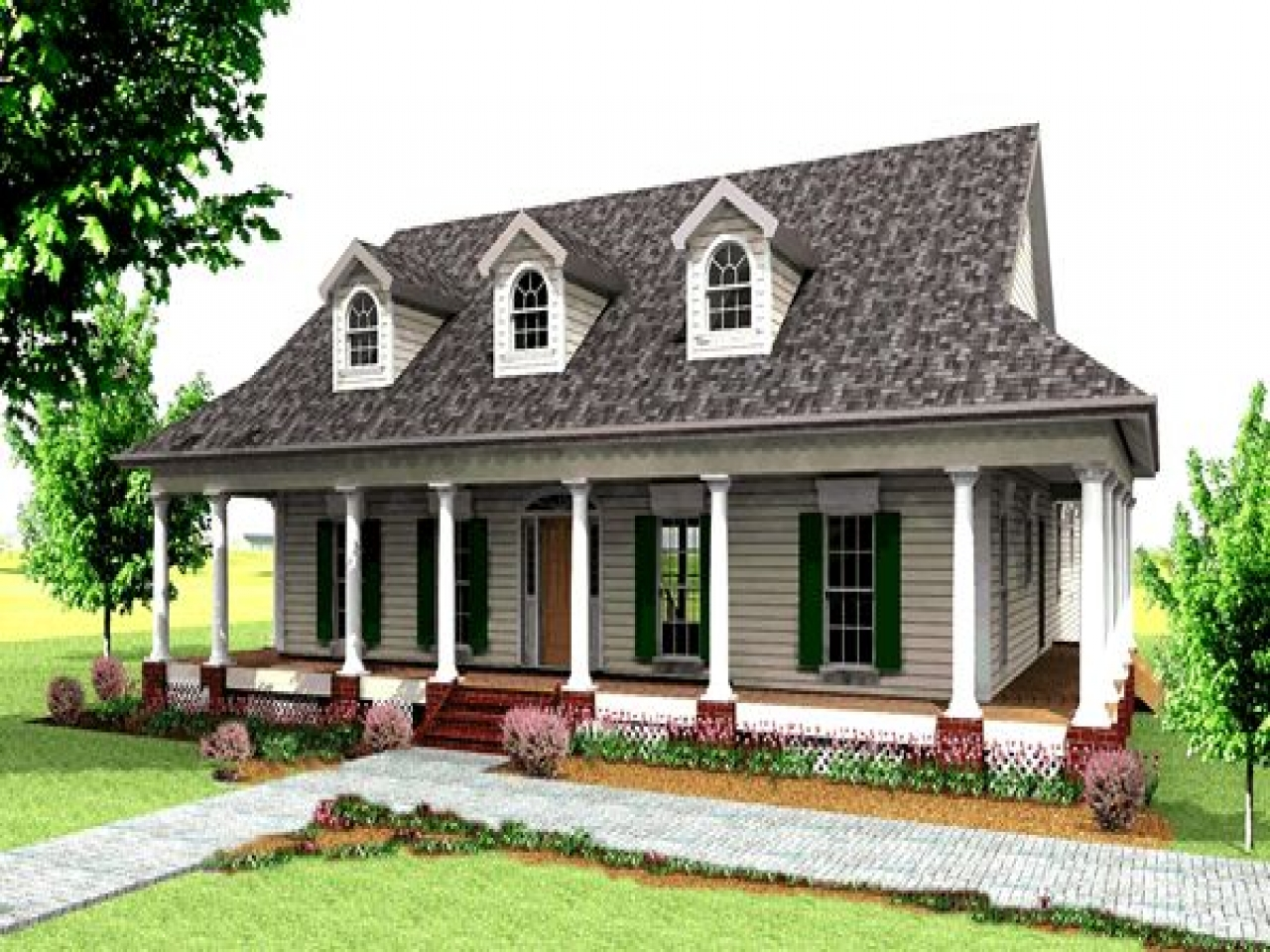 Rustic country house plans old country house plans with for Rustic house plans with porches