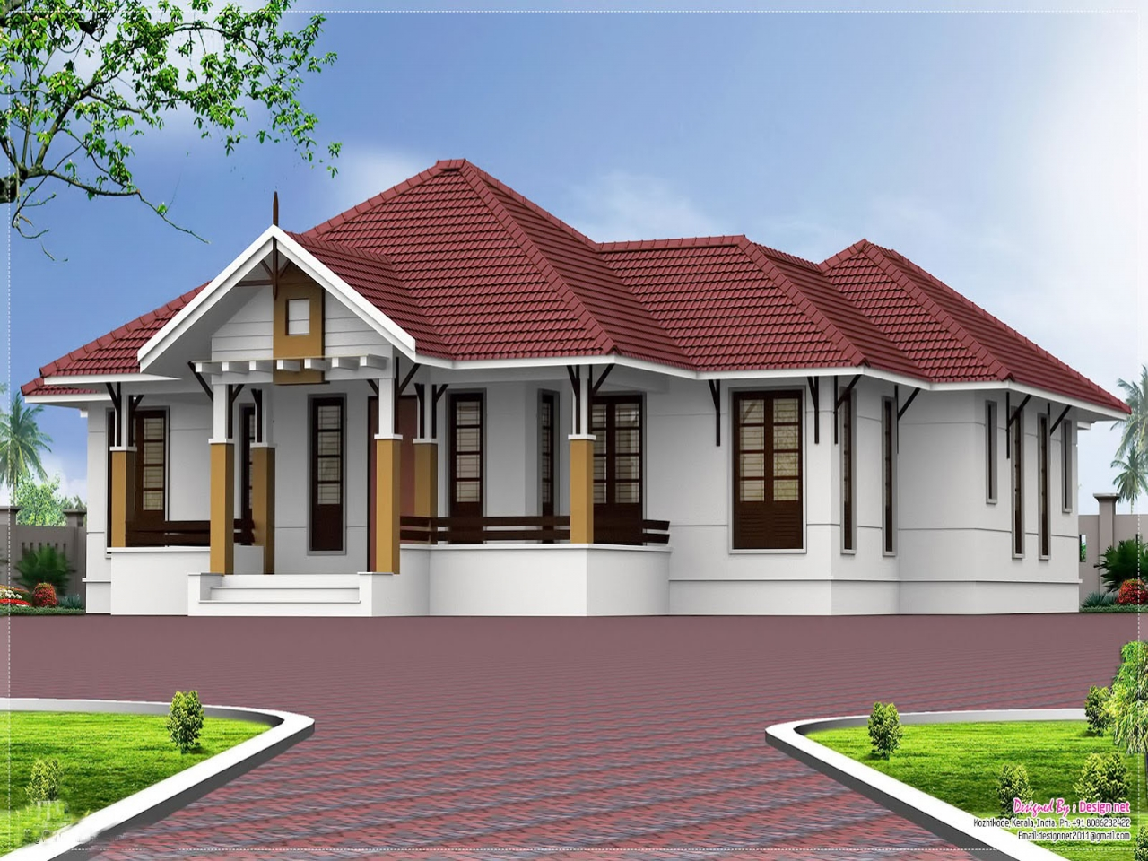 Single story open floor plans kerala single floor 4 for One floor farmhouse plans