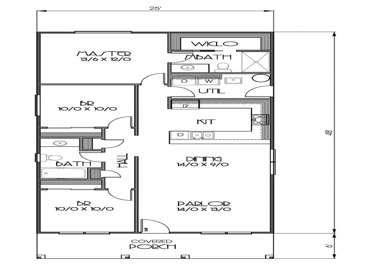 1200 sq foot house floor plan 1200 sq ft house plans 2 for Floor plans 1200 sq ft ranch