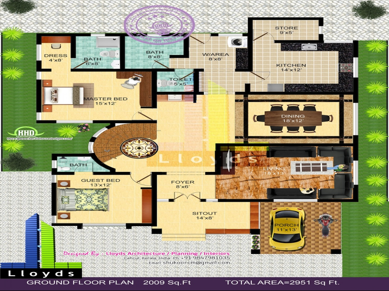 bedroom bungalow floor plan and 3d view kerala home design and floor small bungalow house plans. Black Bedroom Furniture Sets. Home Design Ideas