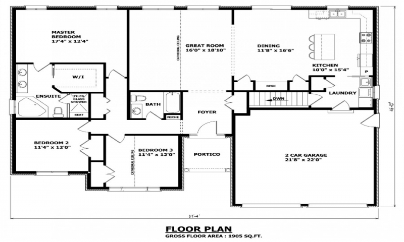House floor plans with no formal dining room single floor One floor house plans canada