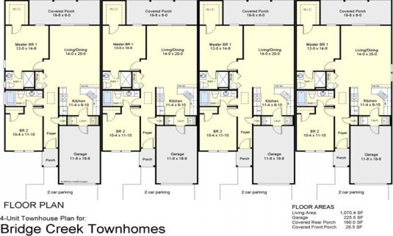 4 Plex Townhouse Floor Plans 4-Plex Apartment Floor Plans