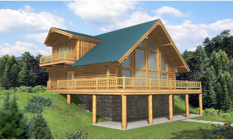 A frame house plans with walkout basement a frame house for Log cabin floor plans with walkout basement