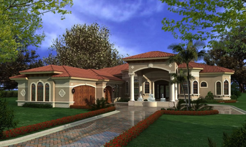 One story modular homes luxury one story mediterranean for Luxury waterfront house plans