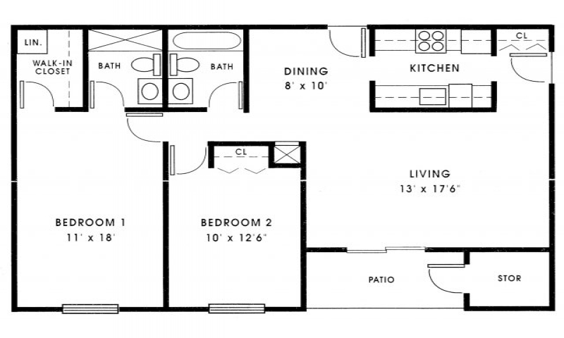 Inside small houses small 2 bedroom house plans 1000 sq ft for 2 bedroom house plans under 1000 sq ft