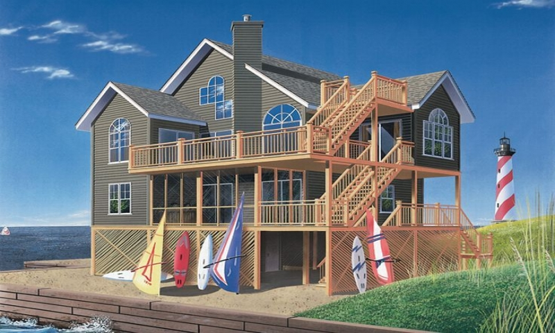 Beach house plans for homes on pilings plans on piers for Beach house plans on piers