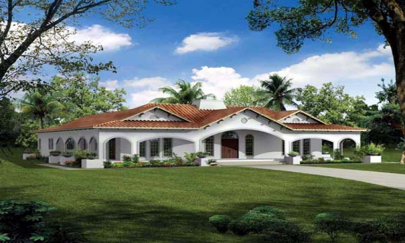 Spanish style house plans with courtyard spanish stucco for Spanish style ranch house plans
