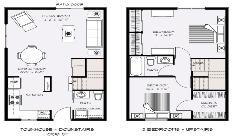 2 bedroom townhouse floor plans small townhouse floor for Townhouse floor plans 2 bedroom