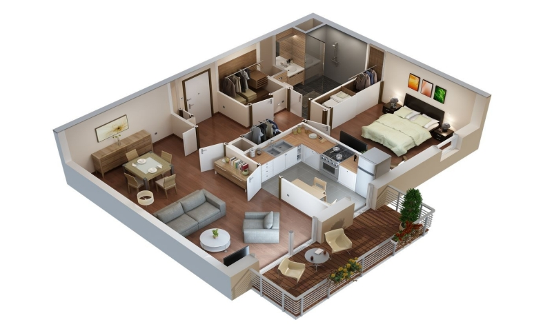 Apartment floor plans plan 3d appartement senior home for Plan appartement 3d