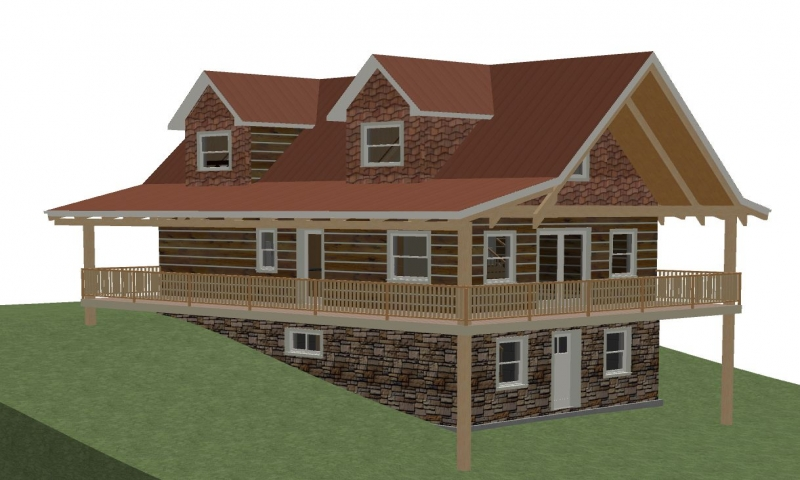 Open floor plans log home with plans log home plans with for House plans with loft and walkout basement