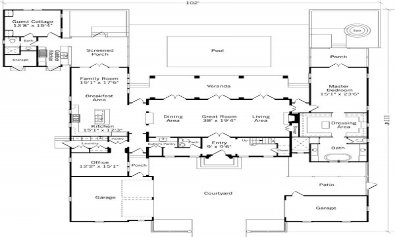 Cottages with attached guest house plans guest cottage for Home plans with attached guest house