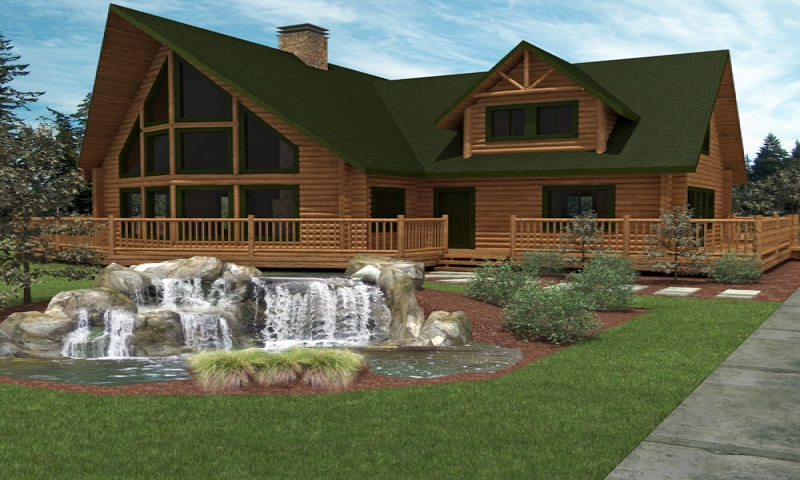 Luxury log cabins with water small luxury log home plans for Small luxury cabin