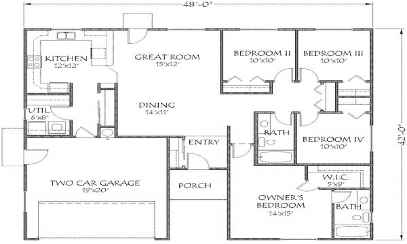 Open Floor Plans Under 1500 1500 Square Foot House Floor